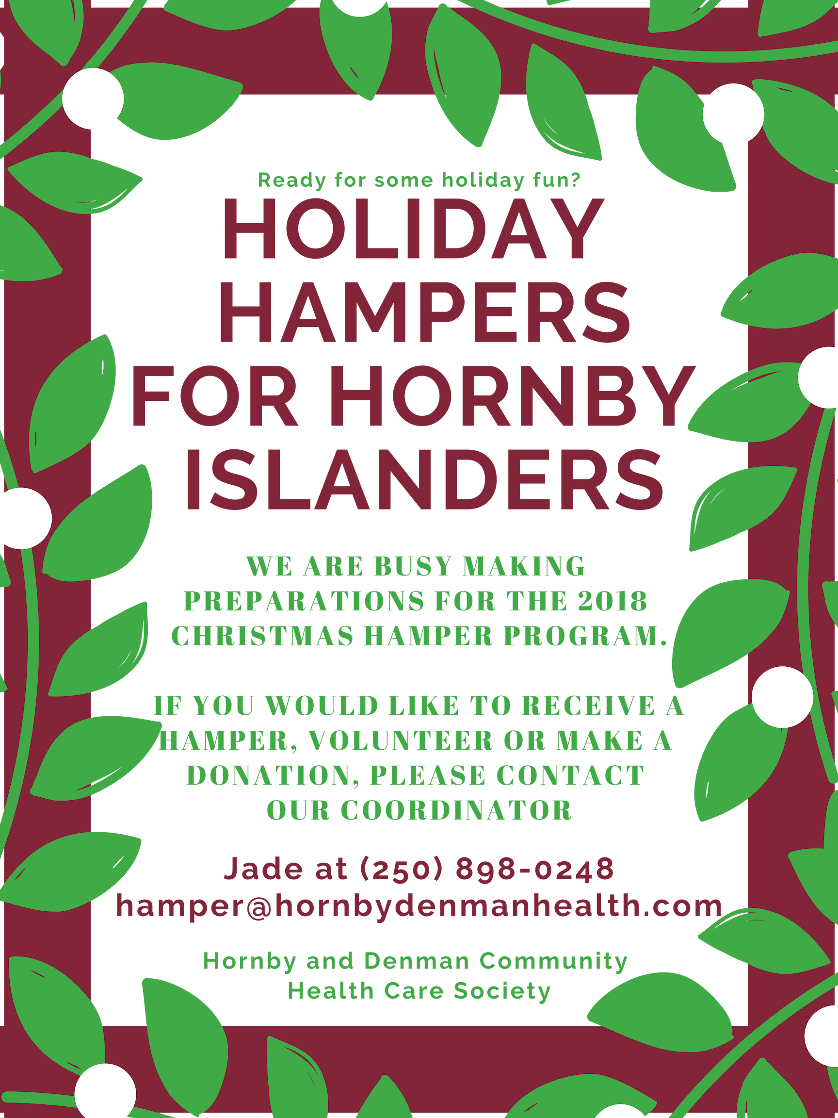 Holiday Hampers for Hornby Islanders